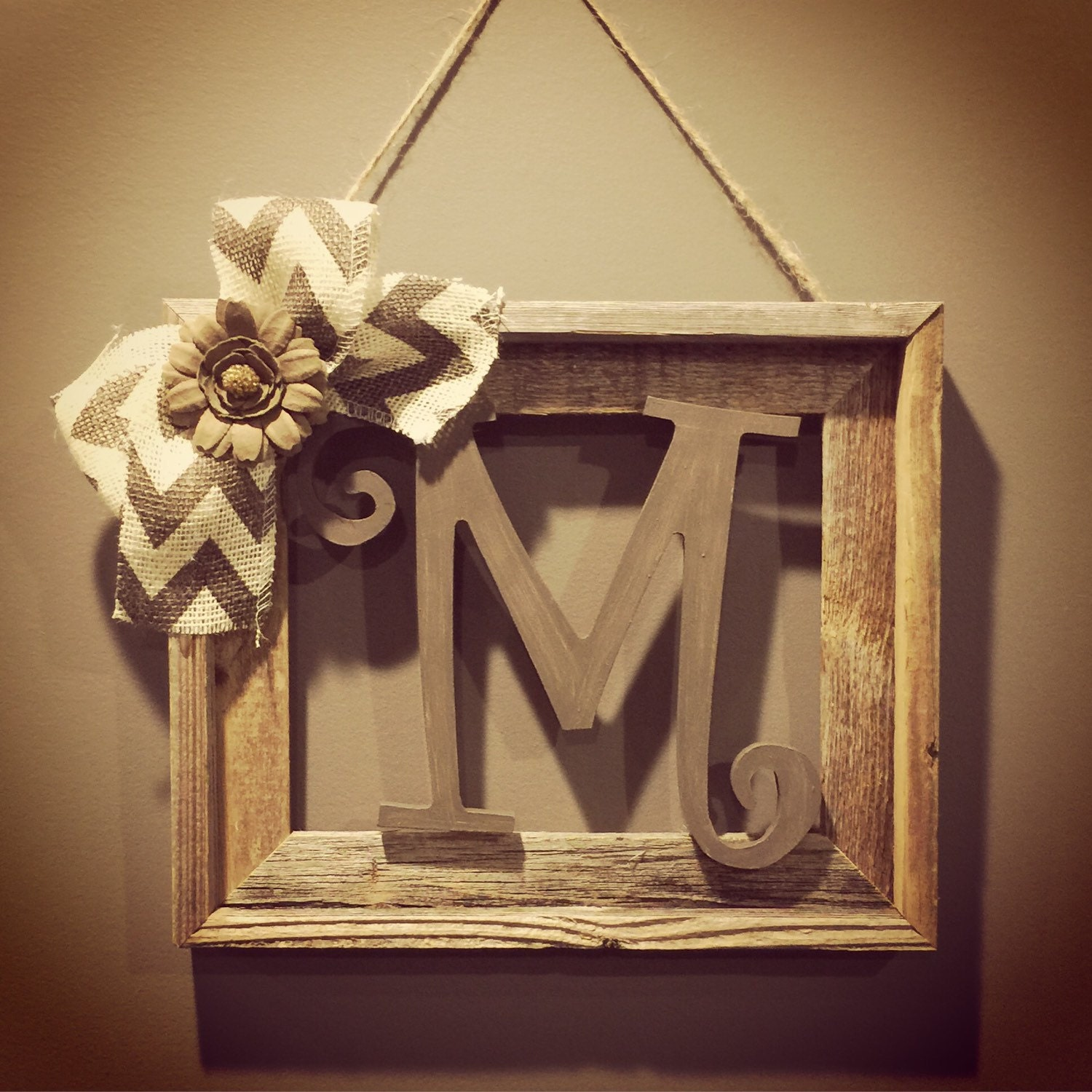Barnwood rustic home decor frame with by allthatsrustic on for Letter n decorations