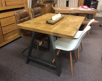 Rustic Industrial Plank Table with Metal A-Frame Legs - chunky wood vintage retro