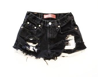 Black denim shorts | Etsy