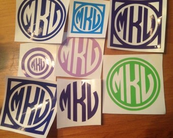 three initial solid color monograms