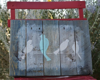 Birds on a Wire Reclaimed Pallet Wood Sign