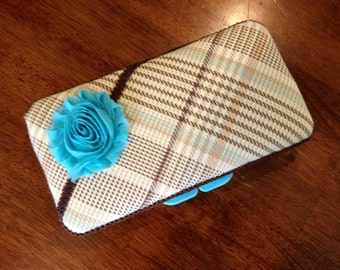 Diaper Wipe Case Blue and Brown Checkered
