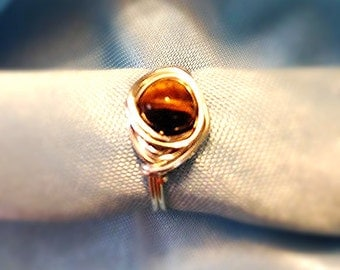 Tiger Eye Ring, Silver Ring, Copper Ring, Wire Wrapped Ring, Tiger Eye Jewelry, Beach Jewelry, Back To School, Made to Order, Ladies Jewelry