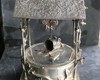 Antique 1880's Amazing and unique wishing well with crank handle silverplate Middletown jewelry box