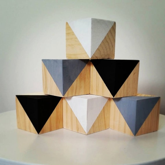 Geometric wooden block set