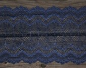 "1 YD Navy & Silver 7"" Stretch Lace for Bramaking Lingerie"