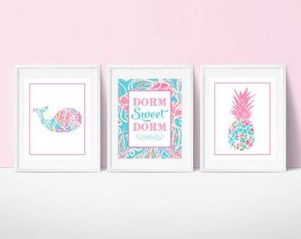 Preppy Lilly Pulitzer Inspired Dorm Print Set of 3 | Preppy Pineapple and Whale | Dorm Sweet Dorm | Trendy Art | Instant Download | 8x10