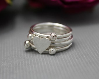 Sterling Silver Heart Stacking Ring Set