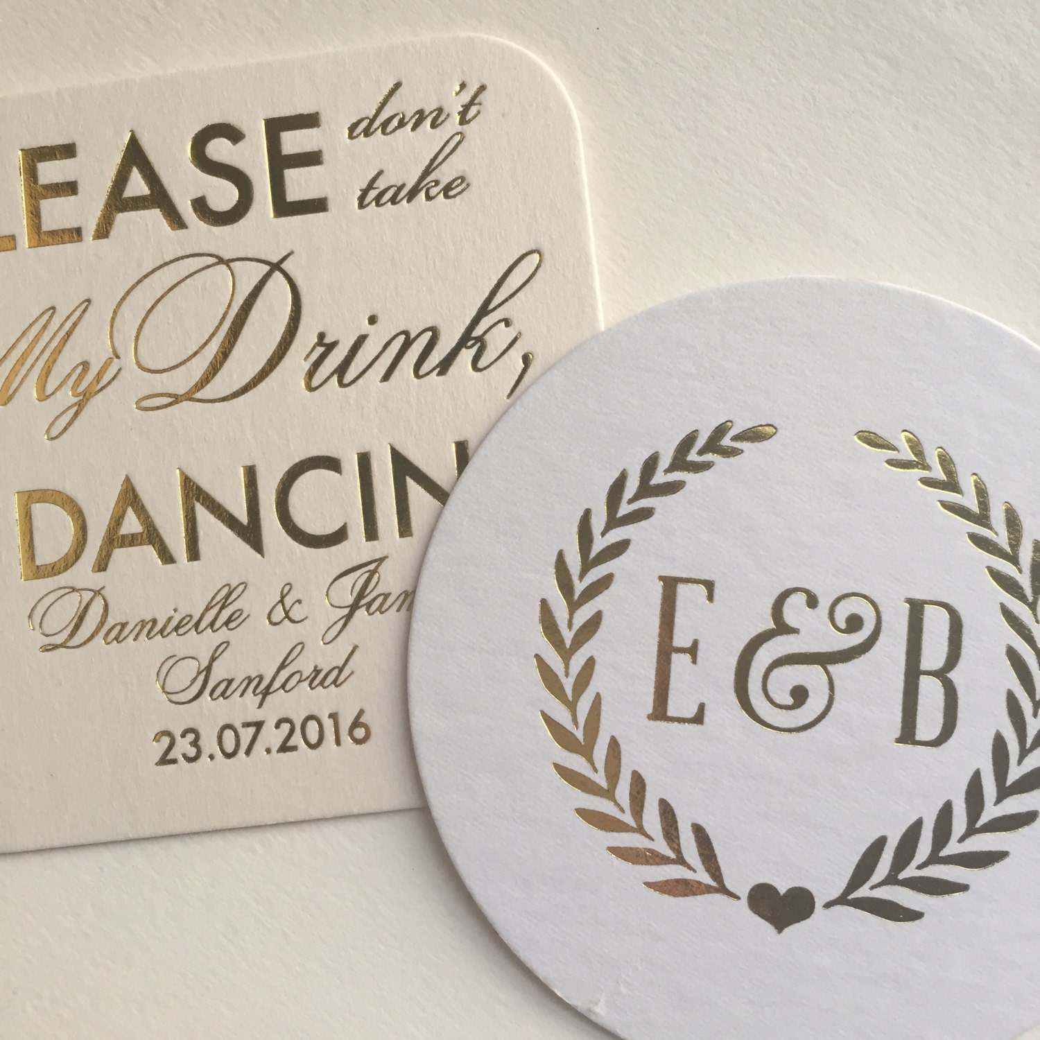 welcome personalized wedding or coasters by pinkpoppyweddings