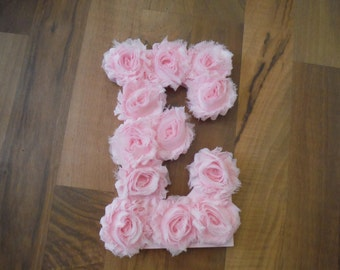 Nursery Letters, Chiffon Rosette Letters, Shabby Chic Room Decor, Girls Nursery, Pink Wall Letter, Decorative Wall Decor, Name Letters