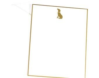 Logo Note Card/Dog Gold Foil Flat Cards/Gold Foil Dog Notecards
