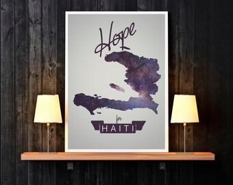 Haiti - Haiti Art - Haiti Print - Country Print - Hope for Haiti