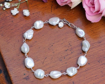 Ivory Baroque Pearl & White Topaz, Silver Wedding Bracelet