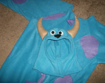 GROWN UP FLEECE Sully Sulley Blue Monster With Purple Spots Halloween Costume Custom Made
