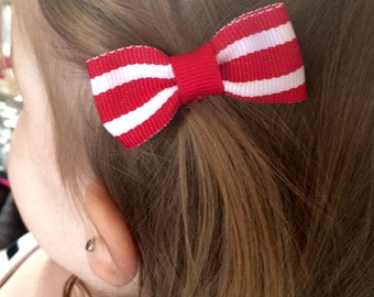 Red & White hair bows! Set of TWO