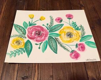Original Floral Watercolor Painting - Handmade - 8x10