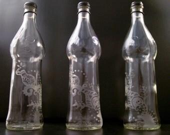 Glass Etched Bottle Vase