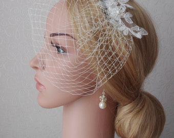 Lace birdcage veil in ivory full birdcage veil with lace Wedding Veil Beaded Lace Flower Birdcage Wedding veil Vintage style Wedding