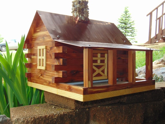 Items Similar To Copper Roof Log Cabin Bird Feeder On Etsy