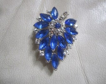 Weiss Signed Rhinestone and Blue stone Brooch