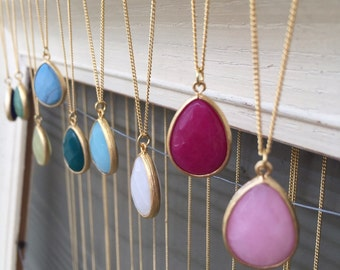Long teardrop necklace, gemstone necklace, everyday jewelry, jewelry gifts, bridesmaid gift, simple necklace