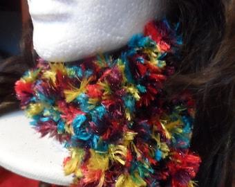 Rainbow Fuzzy Winter Crochet Scarf Boa