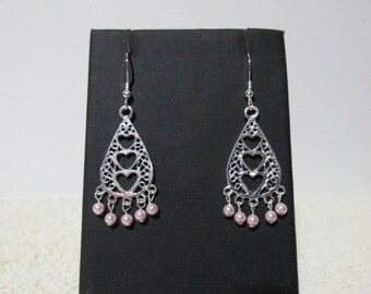 Three Heart Earring With Pink Swarovski Pearls