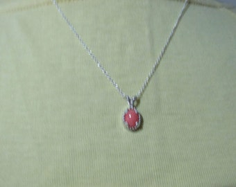 Salmon Pink Coral Sterling Silver Pendant
