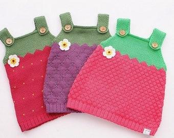 Berries knit dress baby child Strawberry Raspberry BlackBerry