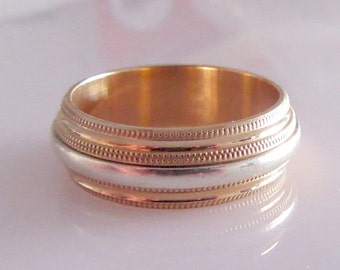 9ct White and Yellow Gold Mans Ring Band Size X or 11 5/8