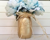 Three Flower Pens with Mason Jar - blue gold shabby chic rustic cottage distressed wedding guest book office pens