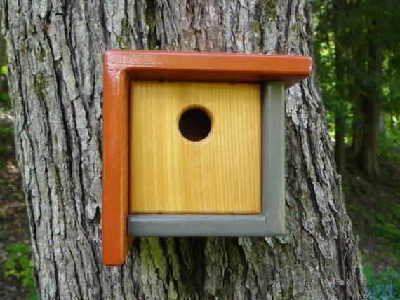Modern Bird House Wren House Color Block Small Birdhouse
