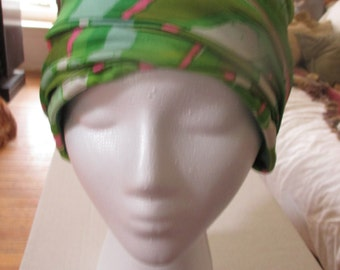 "Vintage 1970's green's & pinks hat, ""Union Made"""
