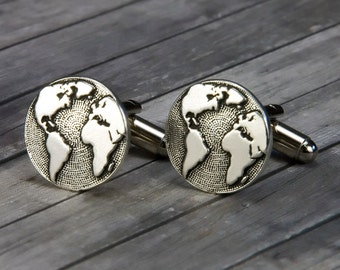 Globe Cufflinks - Globe Cuff Links - World Cufflinks - Mens Handmade Cuff links Accessory - Valentines Day - Gift for him  - Wanderlust