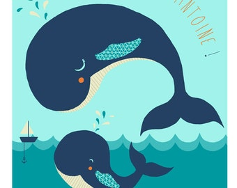 Displays whale - customizable - child