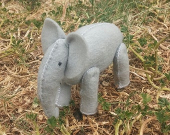 Personalized, Hand Stitched, Stuffed, Felt Wee Elephant