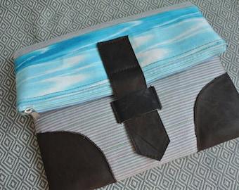 Blue Cotton/leather handmade clutch