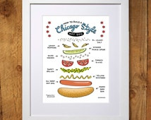 How To Build A Chicago Style Hot Dog Print - 8x10 and 11x14 - Wall Art - Illustration