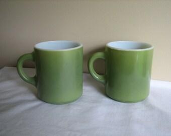 2 Avacado Green Milk Glass Vintage Mugs