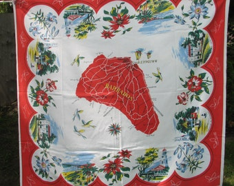 Barbados Souvenir Tablecloth Cotton Vintage