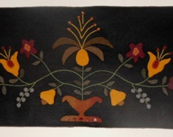 Felt Applique Floral Colonial Wall Hanging