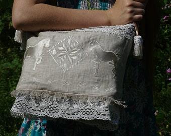 White Horses. White rag hand bag