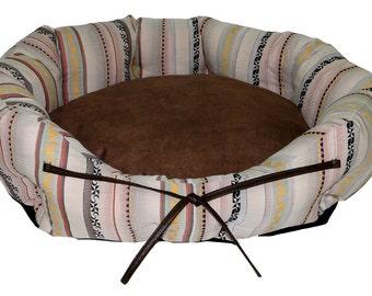 Round Dog Bed Boho Chic