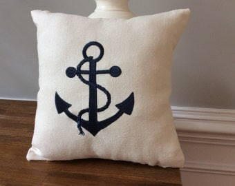Embroidered Navy blue Anchor Pillow