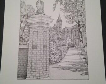 Auburn 11x14 print of Toomer's Corner