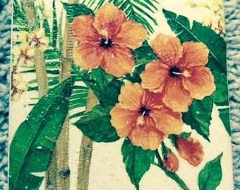 Orange Hibiscus Ceramic Tile Coasters (set of 4)