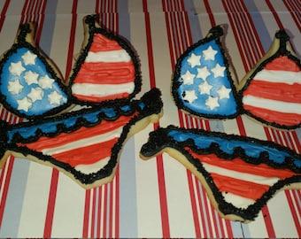 Dozen Julyy 4th Bikini Cookies