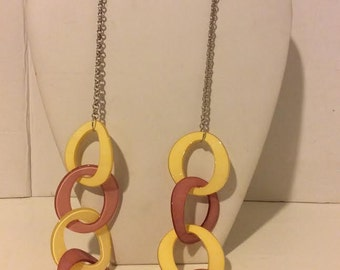 Long pink and yellow chunky resin link necklace