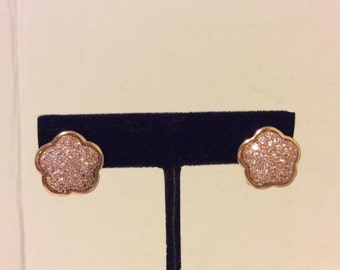 Gorgeous rose gold coated pave sterling silver flower earrings