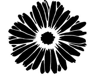"12/12"" Gerbera flower stencil."
